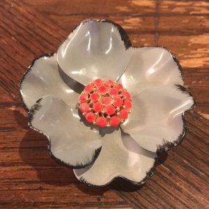 Vintage grey & red enameled flower brooch